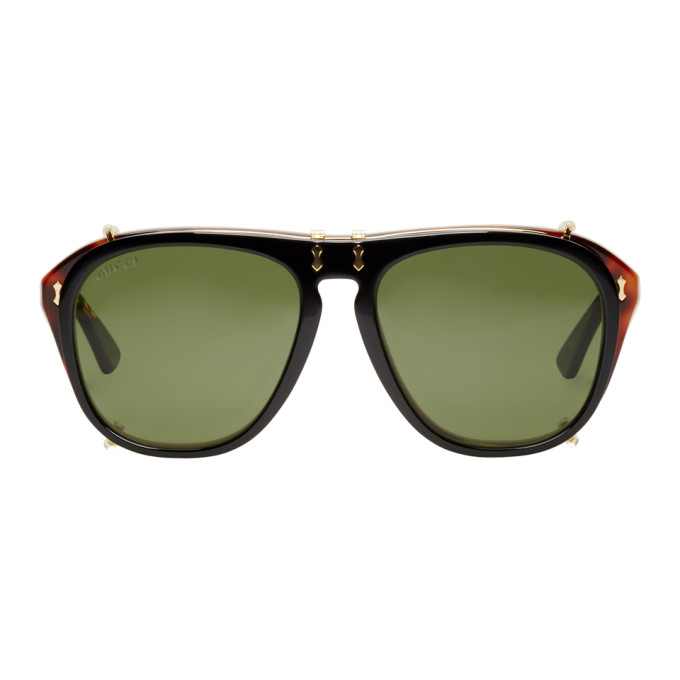 ebae0cd7a Gucci Tortoiseshell Black Opulent Luxury Flip Up Sunglasses