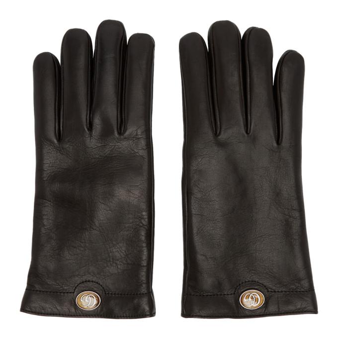 Gucci Black Leather Logo Gloves