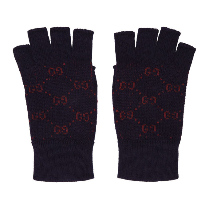 Gucci Navy and Red GG Supreme Fingerless Gloves