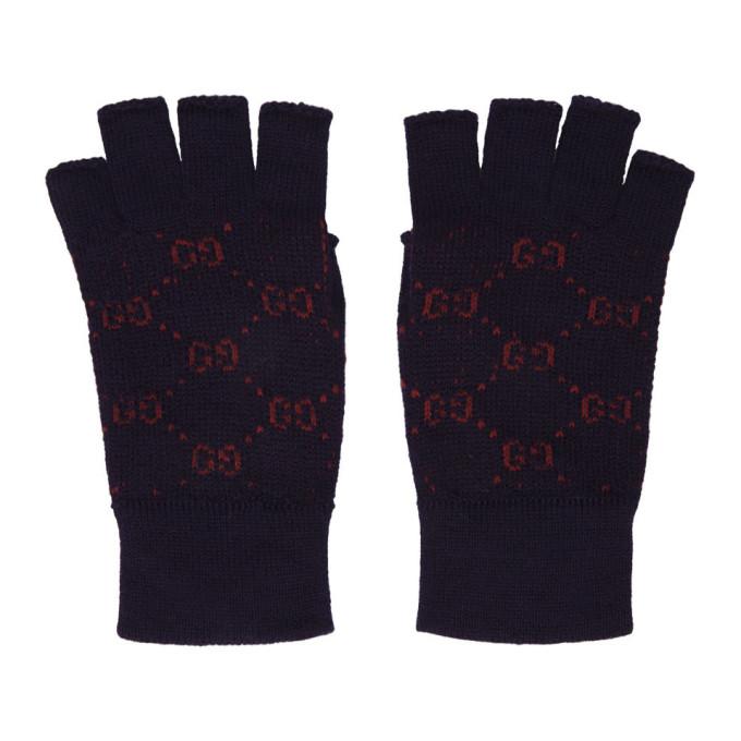 Logo Alpaca Wool Fingerless Gloves in Navy