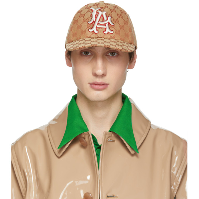 Gucci Tan LA Angels Edition GG Supreme Patch Cap