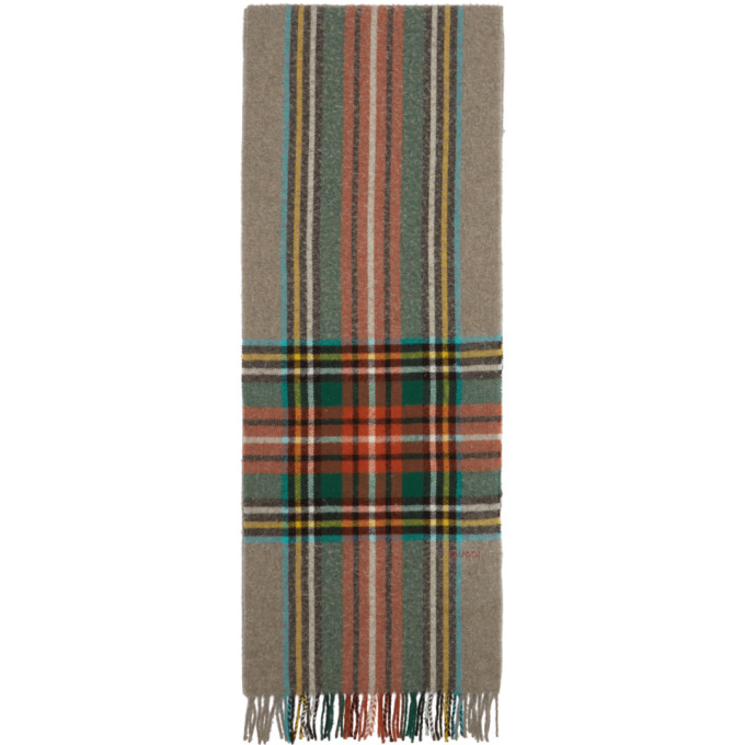 Checked Wool Scarf in 9776 Beige