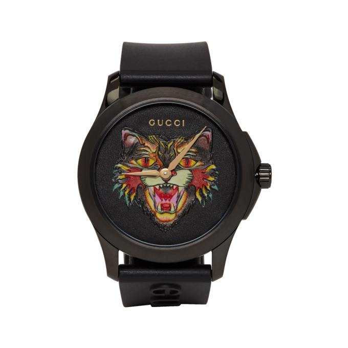38Mm Angry Cat Blackened Stainless Steel And Rubber Watch - Black - One Siz