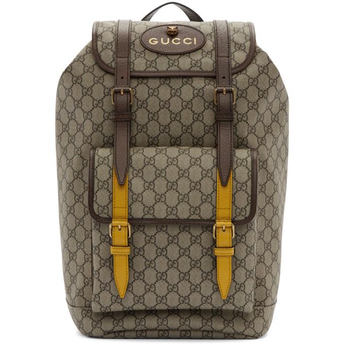Gucci Beige & Brown GG Supreme Flap Backpack