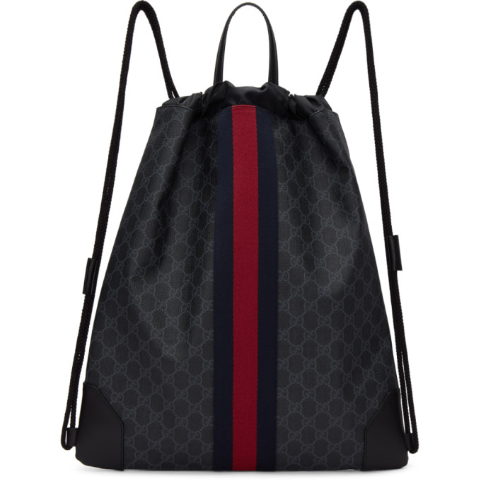 Gucci Black GG Supreme Drawstring Backpack