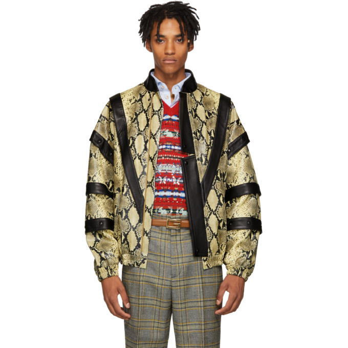 Gucci Yellow and Black Faux Python Bomber Jacket
