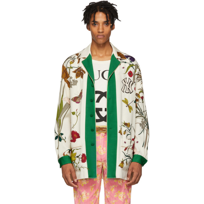 0f8511cfe12 GUCCI White New York Yankees Edition Floral Gothic Print Shirt, 3067 Flora  | ModeSens