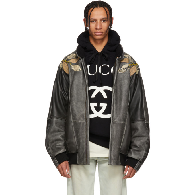 Gucci Black Leather Applique Bomber Jacket