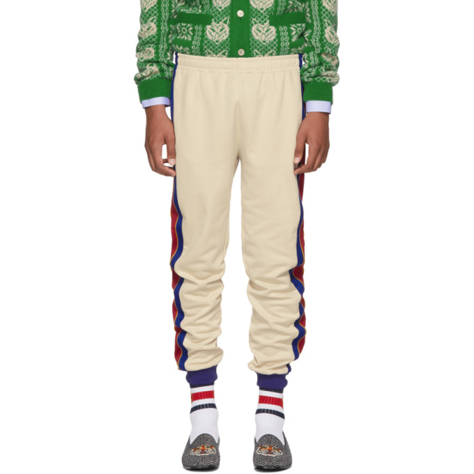 Image of Gucci Beige & Blue Striped Lounge Pants