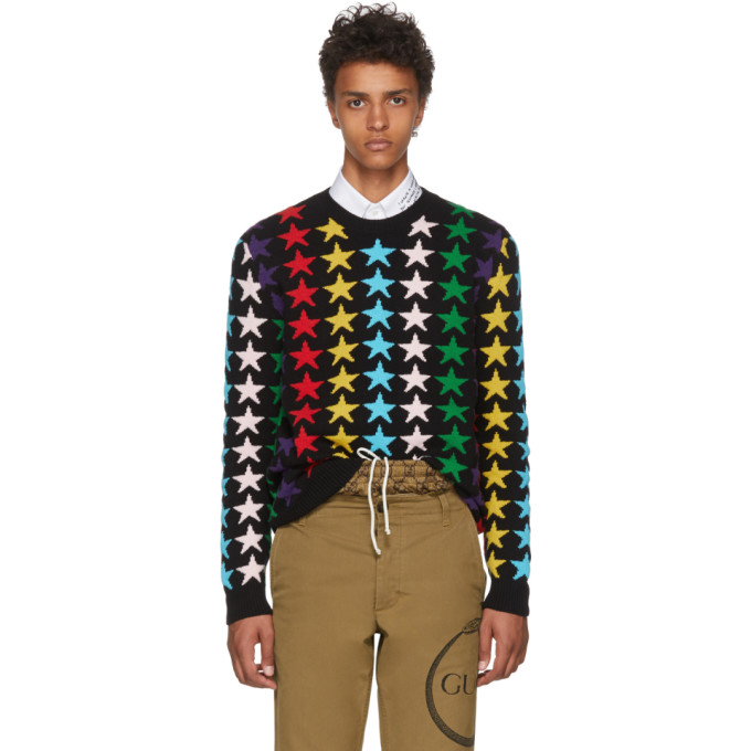 Gucci Black and Multicolor Star Sweater