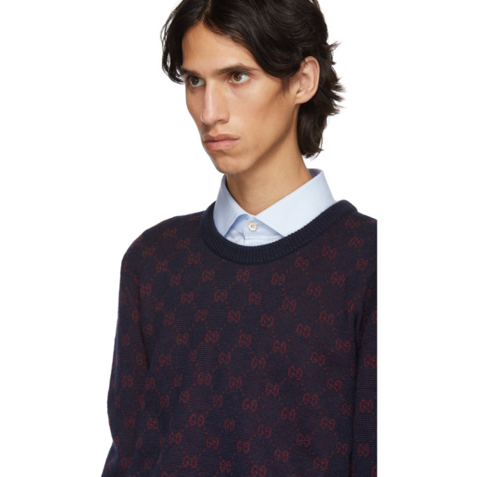Gucci Gg Supreme Wool Blend Knit Sweater In Blue