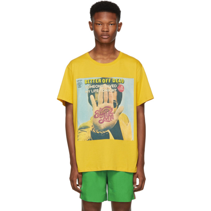 Elton John Print T-Shirt in Yellow