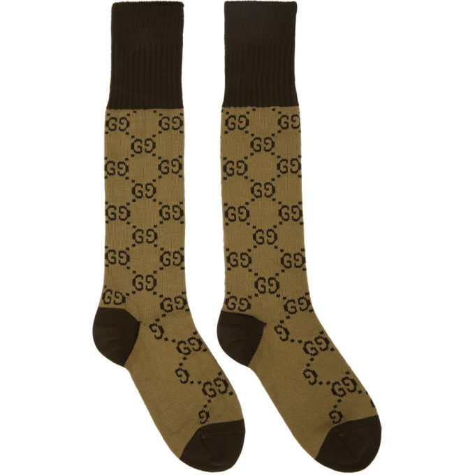 Image of Gucci Beige & Brown GG Socks