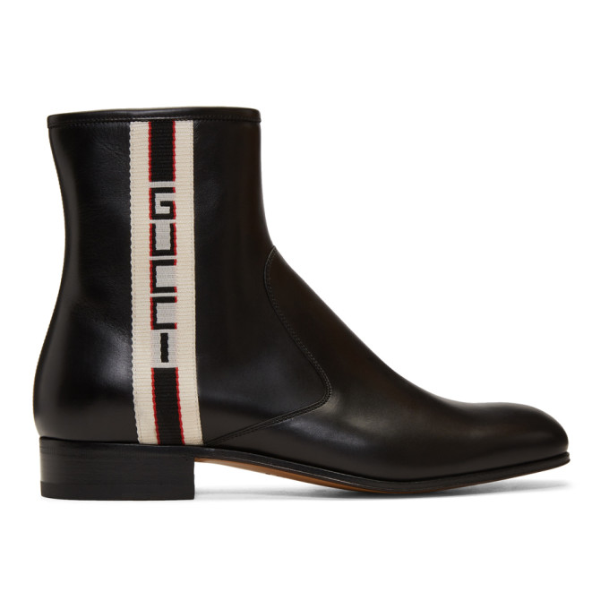Gucci Bonny Webbing-Trimmed Leather Chelsea Boots In Black