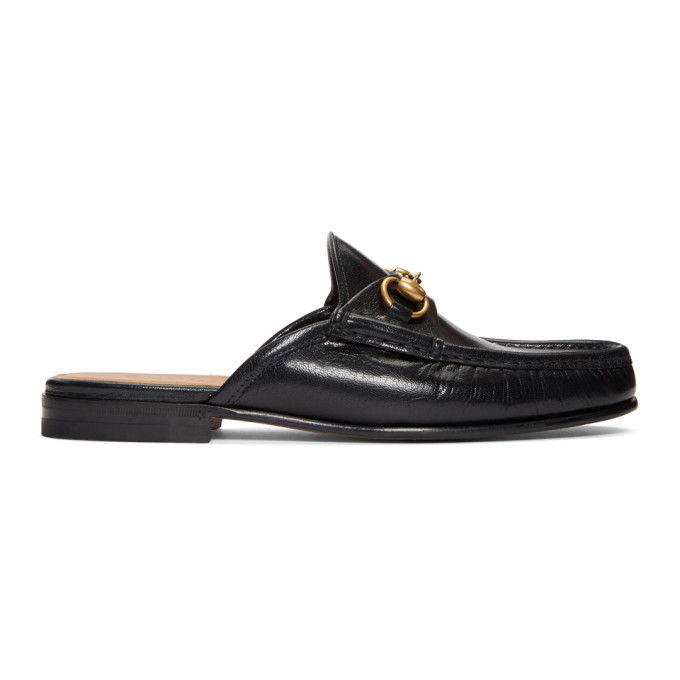 Gucci Black Slip-On Roos Loafers