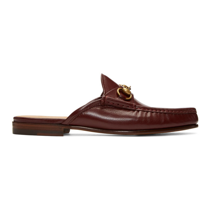Gucci Burgundy Roos Slip-On Loafers