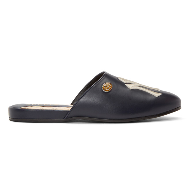 Gucci Navy NY Yankees Edition Flamel Patch Slippers