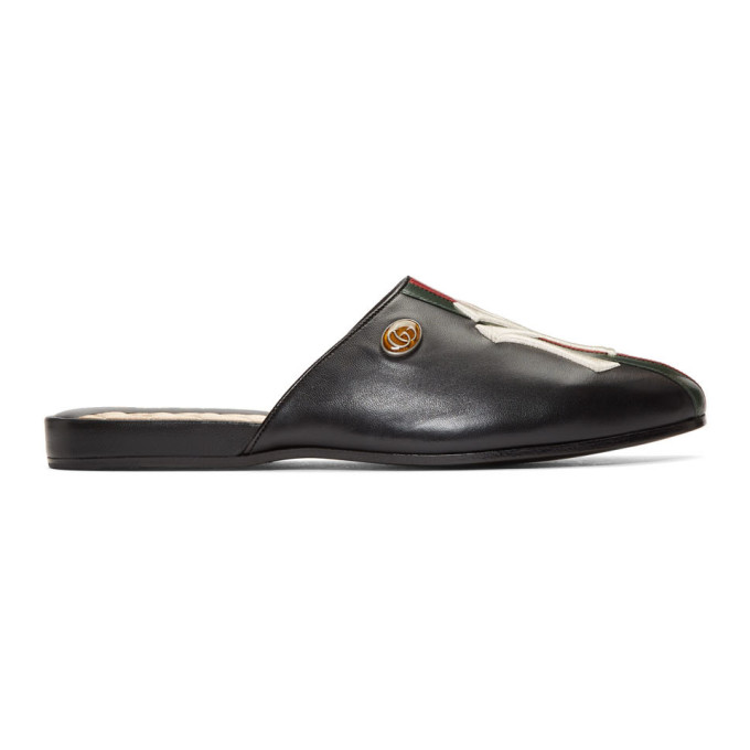 Gucci Black NY Yankees Edition Web Flamel Loafers