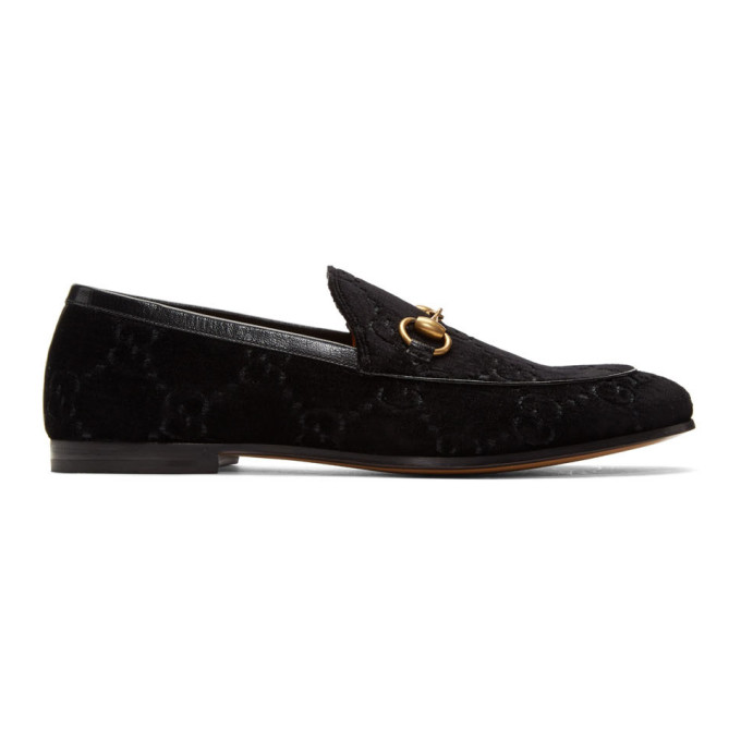 Gucci Black Velvet Jordaan GG Loafers