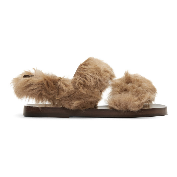 Gucci Brown New Brighton Lamb Wool Sandals