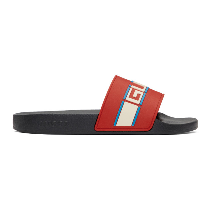 Gucci Red Pursuit Pool Slides
