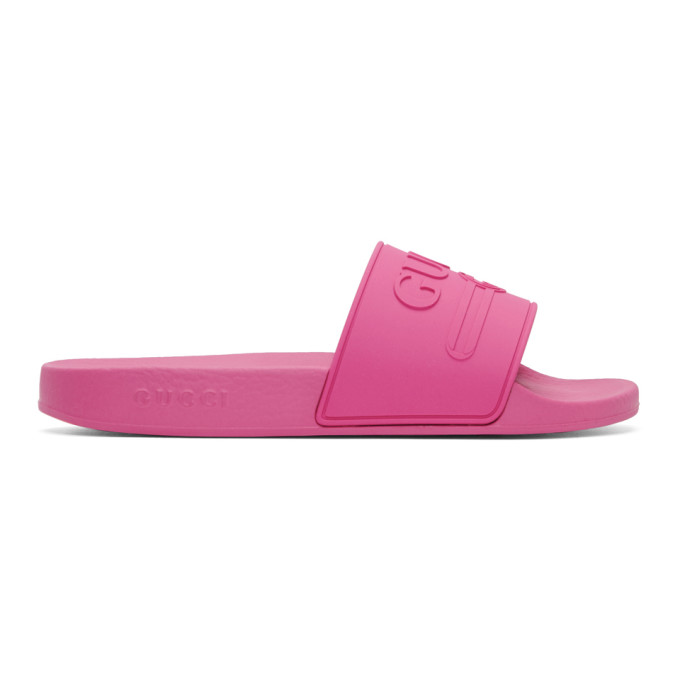 Gucci Pink Pursuit Pool Slides