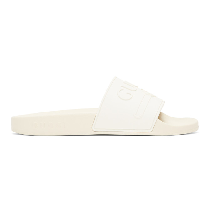 Gucci White Pursuit Pool Slides