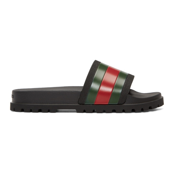 Gucci Black Trek Slides