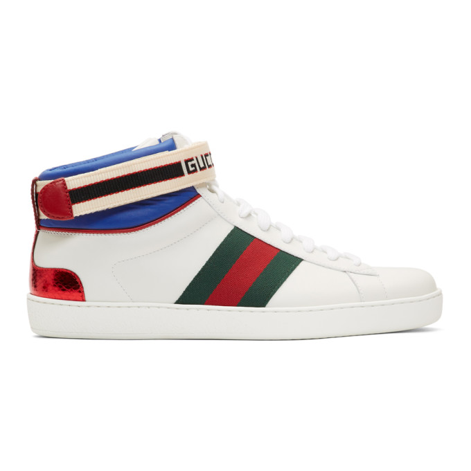 Gucci White Striped New Ace High Top Sneakers 182451m23600109
