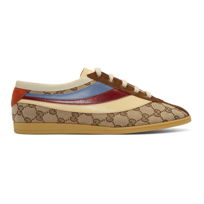Gucci Beige & Brown GG Falacer Sneakers