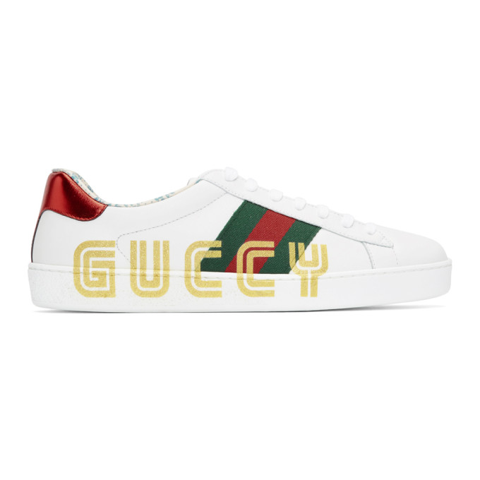 Gucci White New Ace 'Guccy' Sneakers