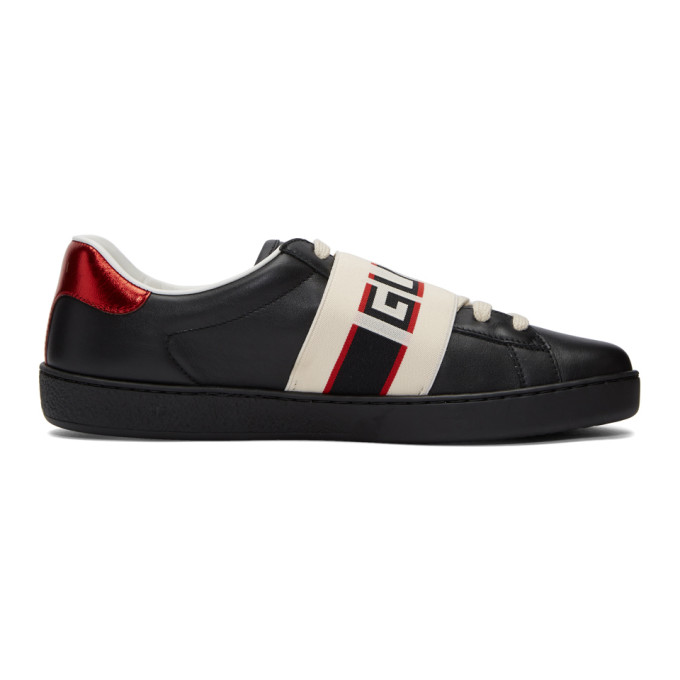 Gucci Black New Ace Elastic Band Sneakers