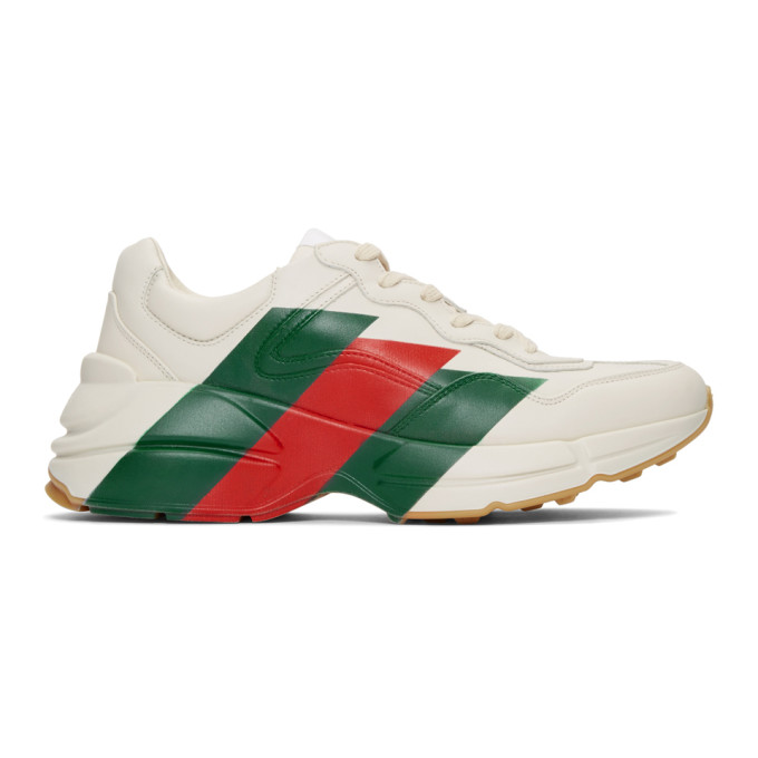 Gucci White Stripes Rhyton Sneakers
