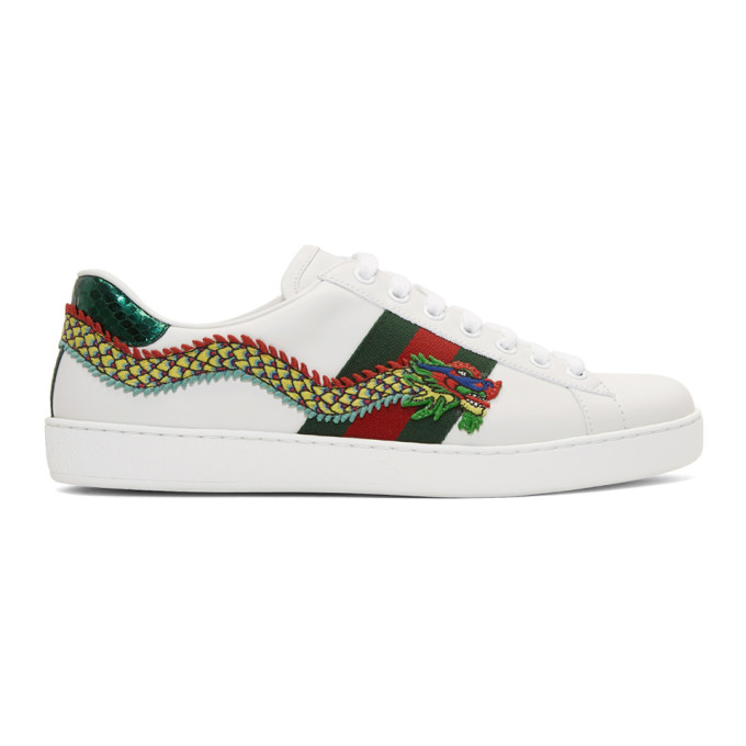 Gucci White Dragon Ace Sneakers
