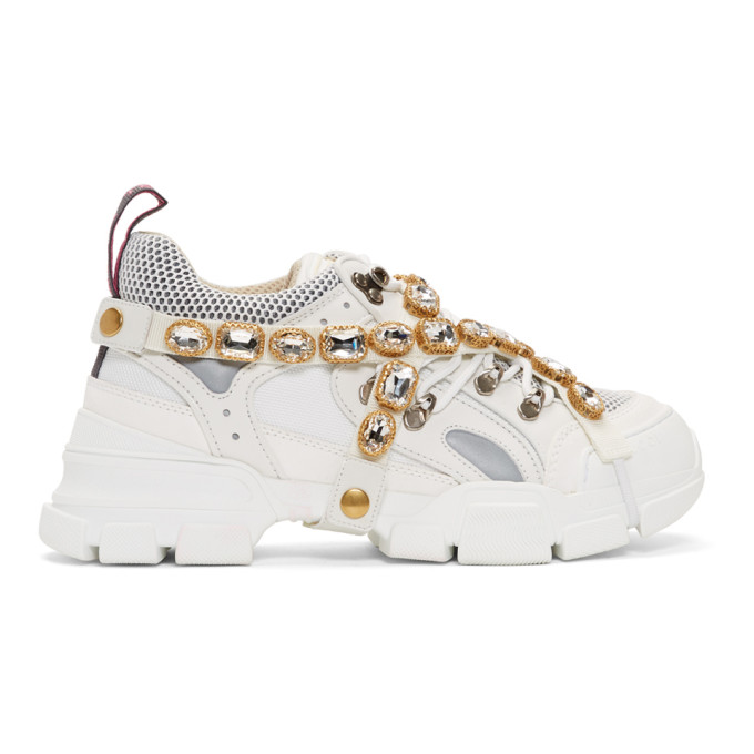 Gucci White Removable Crystals Flashtrek Sneakers