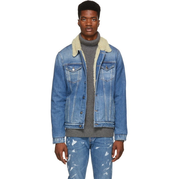 Shearling Lined Denim Jacket in Blue