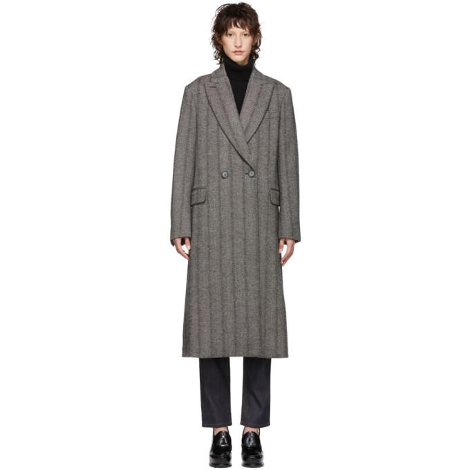 Oversized Herringbone Wool Coat, 1000 Black