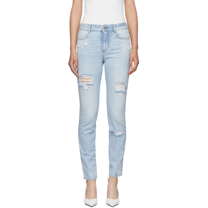 High-Waisted Skinny Jeans in Blue