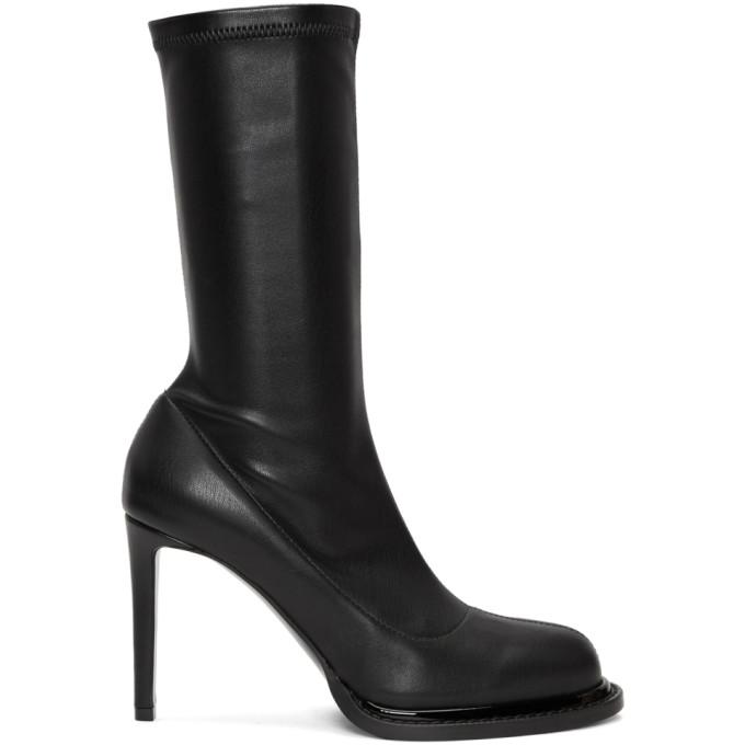 Stella McCartney Black Faux-Leather Sock Boots