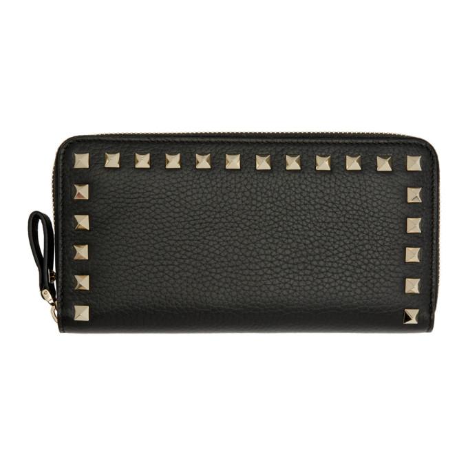 Valentino Black Valentino Garavani Rockstud Continental Wallet