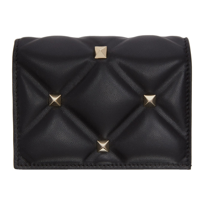 Valentino Black Valentino Garavani Candystud Flap French Wallet