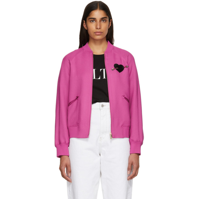 Image of Valentino Pink Heart Beaded Embroidered Bomber Jacket