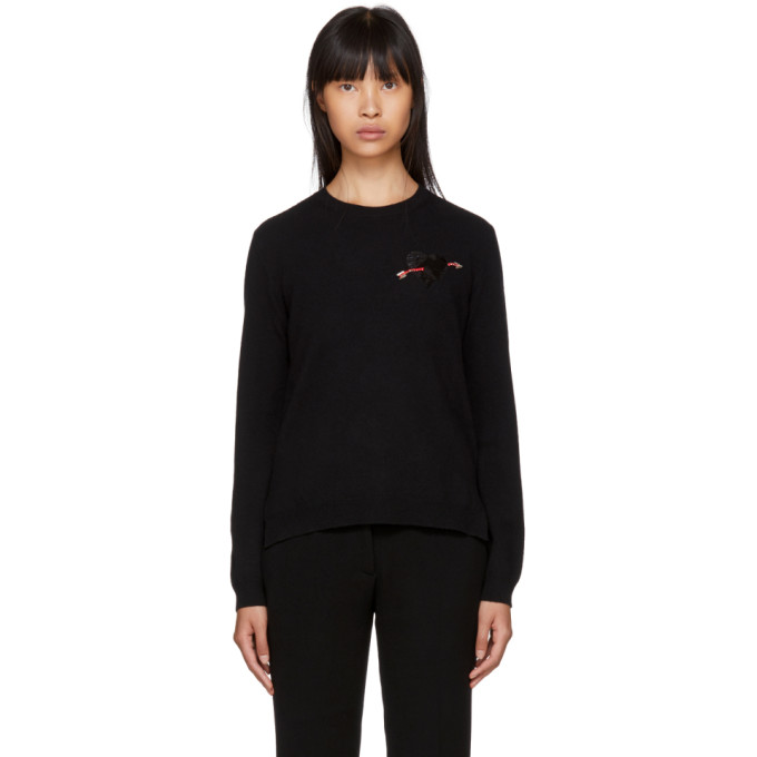 Image of Valentino Black Cashmere Heart Sweater