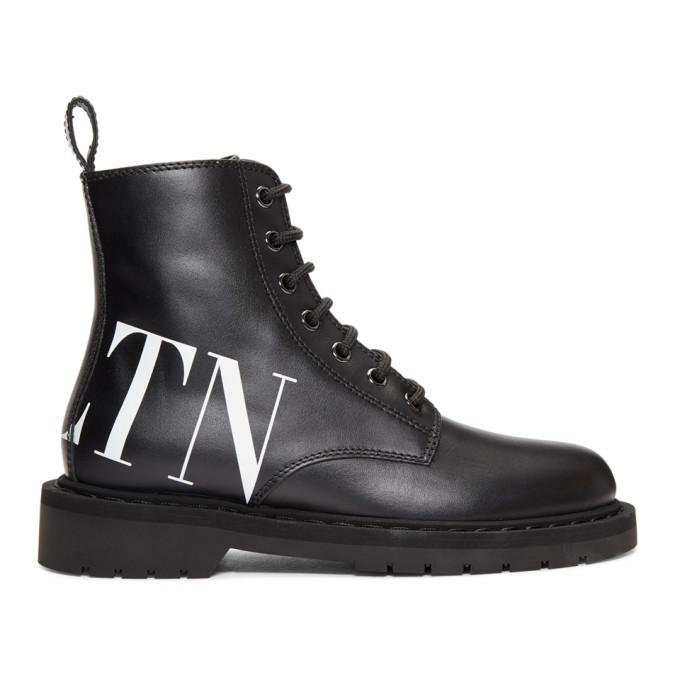 Valentino Black Valentino Garavani 'VLTN' Lace-Up Boots