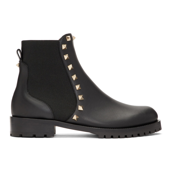 Valentino Black Valentino Garavani Rockstud Boots