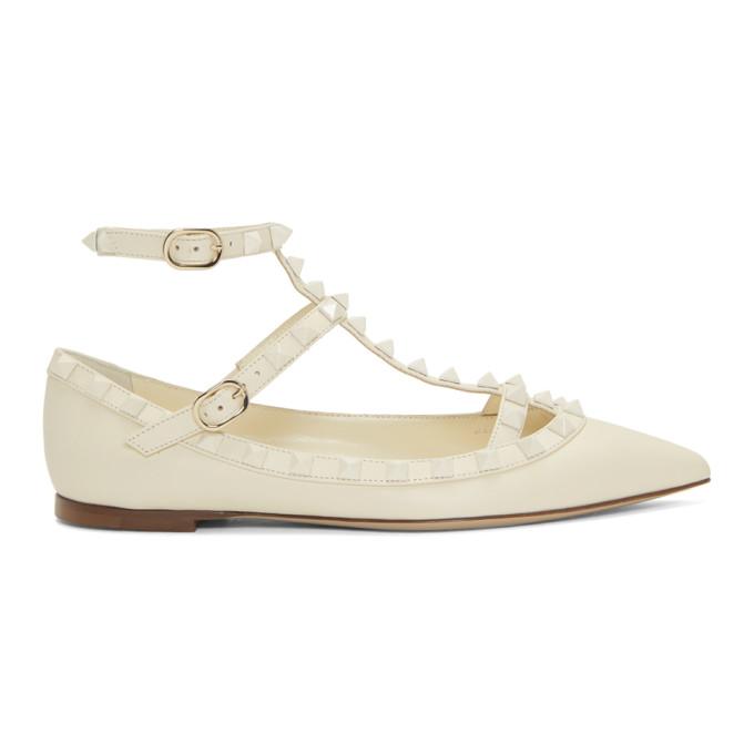 Valentino White Valentino Garavani Rockstud Ballerina Flats