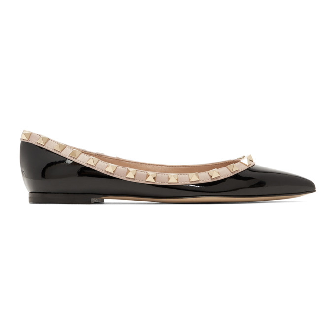 Valentino Black Valentino Garavani Rockstud Pointed Ballerina Flats