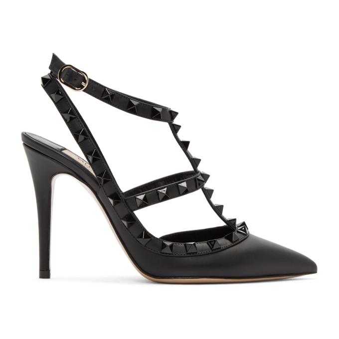 Valentino Black Valentino Garavani Tonal Rockstud Heels