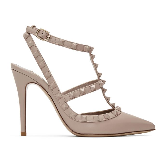 Valentino Pink Valentino Garavani Suede Cage Heels