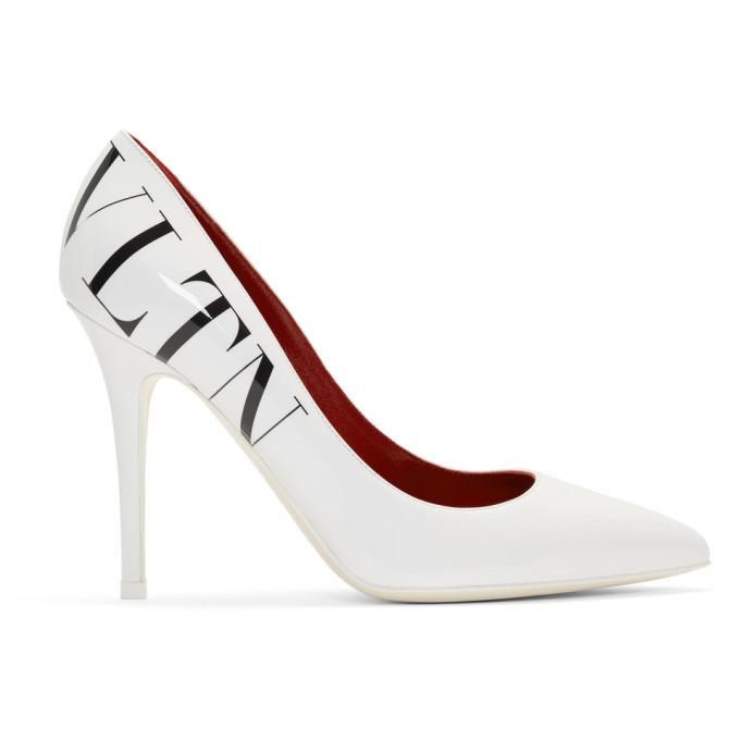 Valentino White Valentino Garavani Logo Heels